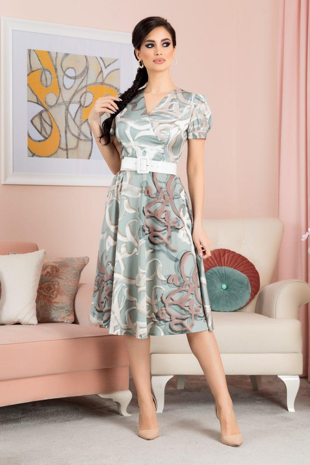 Πράσινο Μίντι Σατέν Φόρεμα Floriss 7079