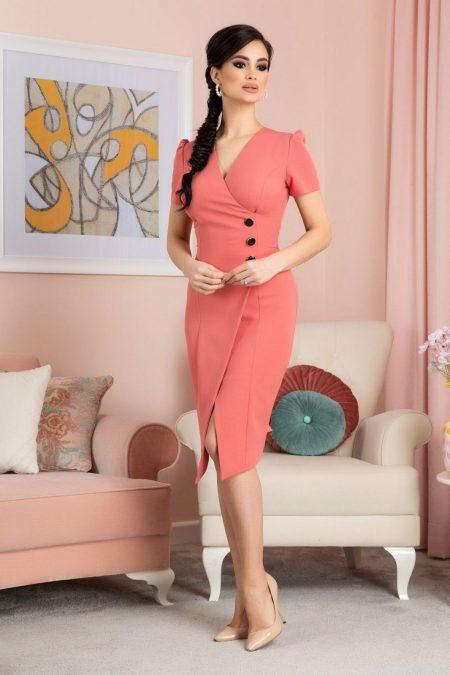 Ysla Midi Ροζ Φόρεμα 7071