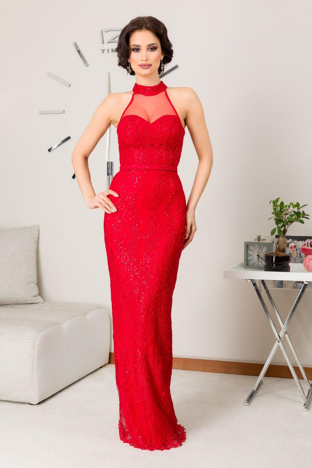 Senzation Maxi Κόκκινο Φόρεμα 7219