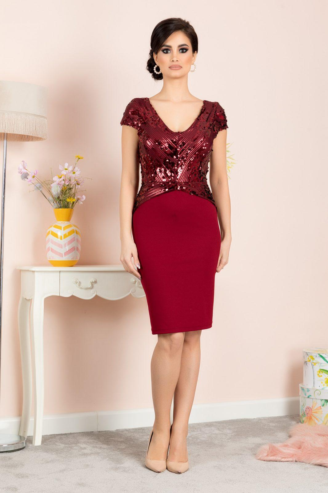 Viviane Burgundy Dress