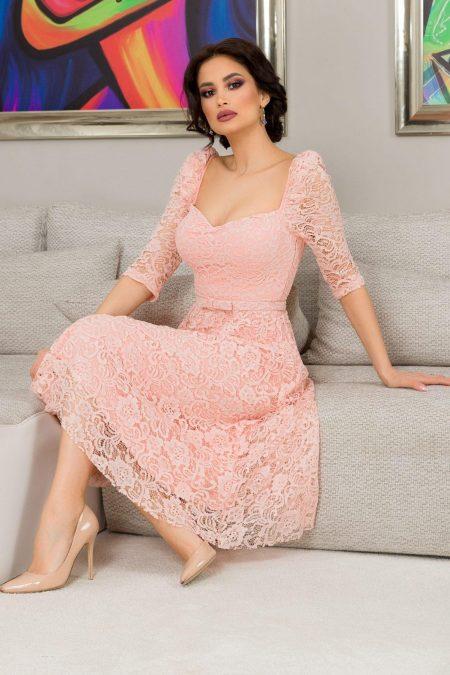 Thara Midi Ροζ Φόρεμα 7261