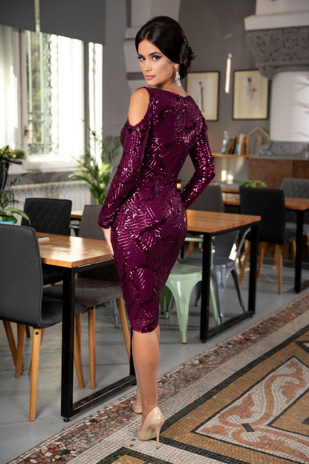 Βιολετί Βραδινό Φόρεμα Gyada 7063