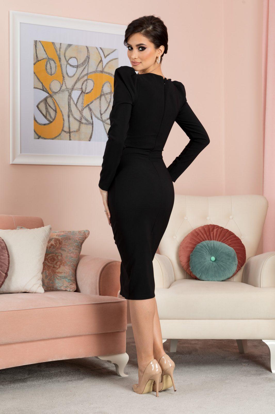 Ellie Midi Μαύρο Φόρεμα 7176