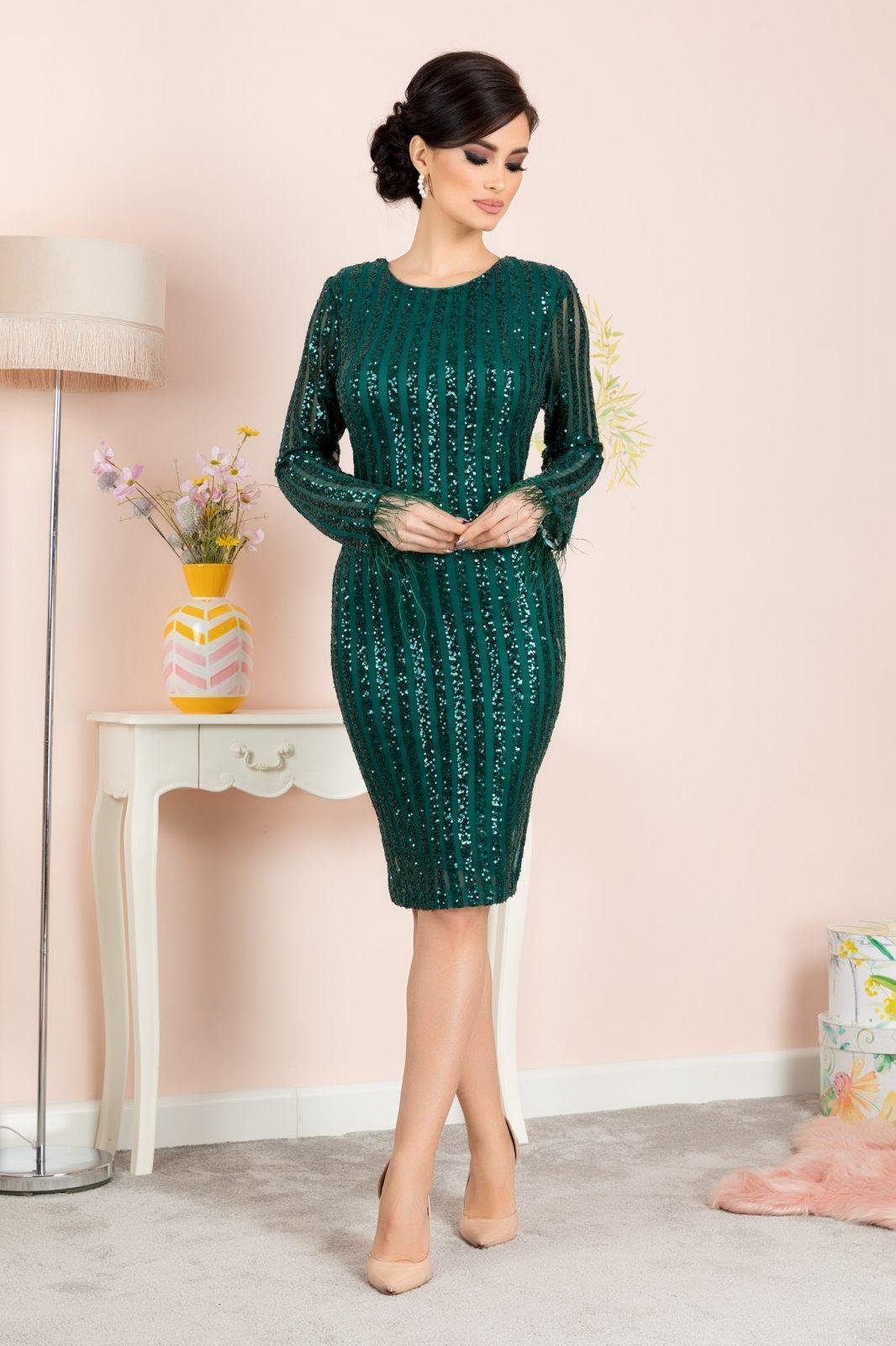 Πράσινο Midi Βραδινό Φόρεμα Ranya 7083