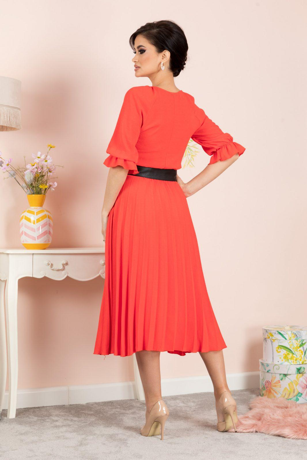 Κοραλί Φόρεμα Clarissa 7124