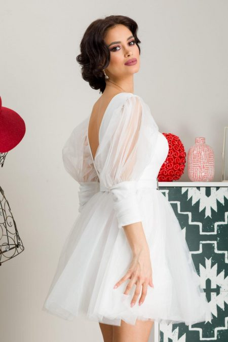 Μίνι Λευκό Φόρεμα Athena 7259