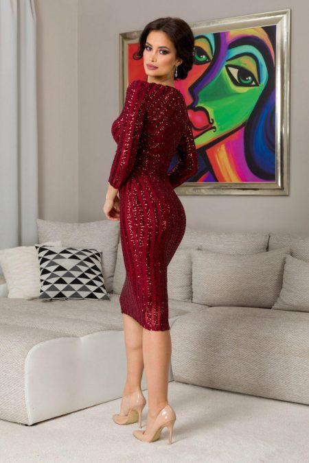 Kendall Midi Μπορντό Φόρεμα 7309