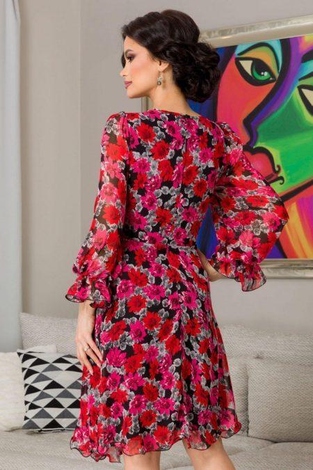 Φλοράλ Φούξια Φόρεμα Μίντι Simine 7282
