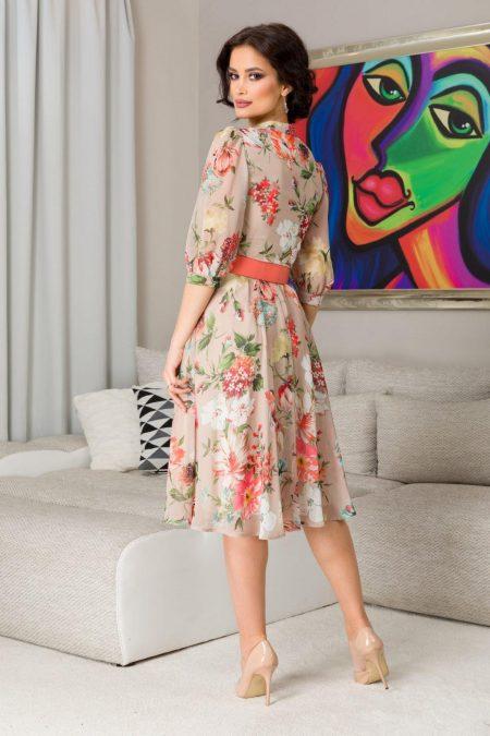 Φλοράλ Μπεζ Φόρεμα με Ζώνη Karina 7315