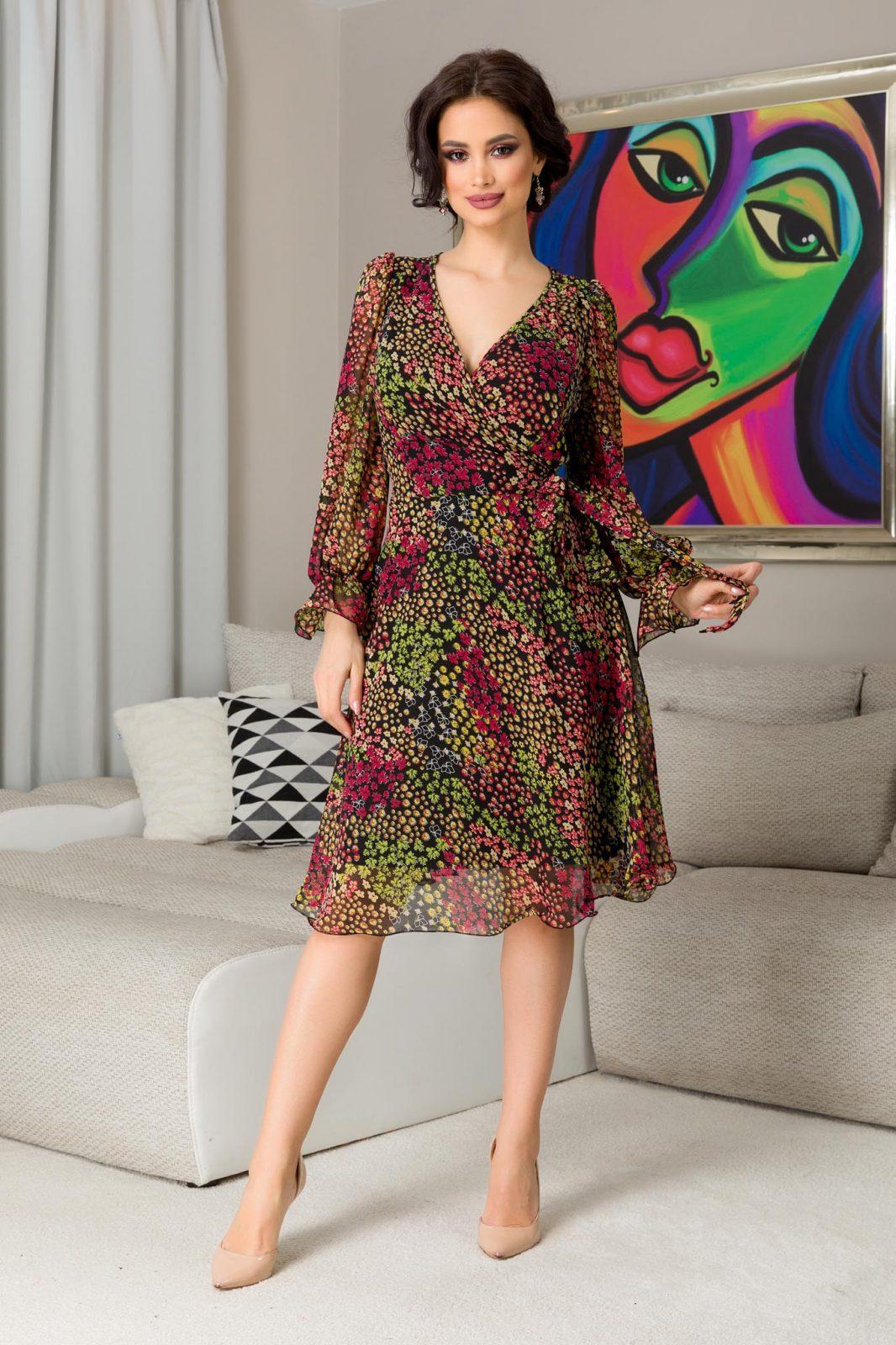 Εμπριμέ Φόρεμα Μίντι Simine 7281 3