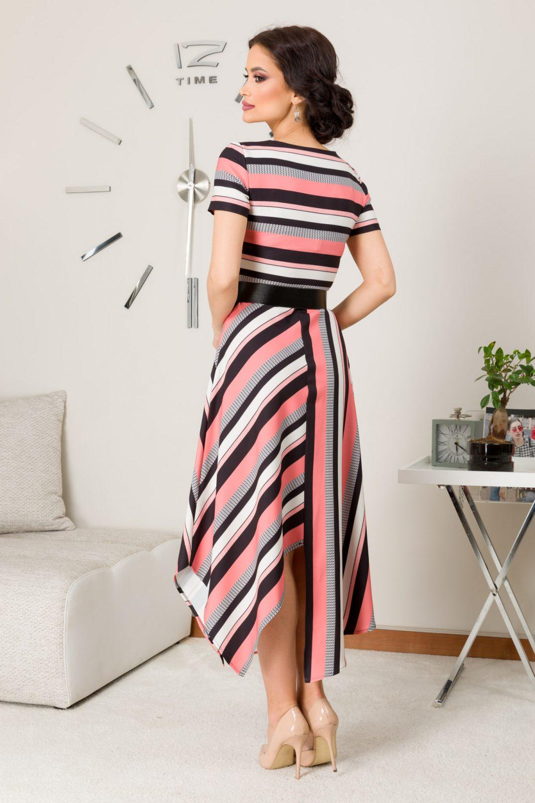 Paige Ροζ Ριγέ Φόρεμα  7302
