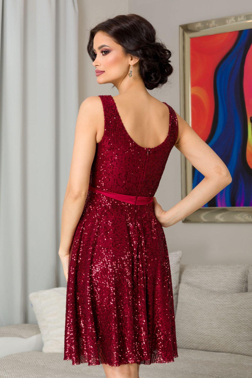 Bianca Μπορντό Βραδινό Φόρεμα 7310