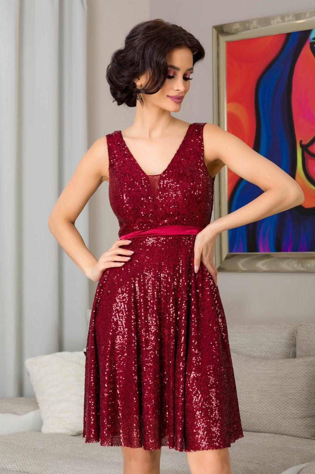 Bianca Μπορντό Βραδινό Φόρεμα 7310 2