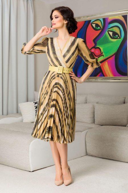 Κίτρινο Πλισέ Φόρεμα Με Ζώνη Esther 7242