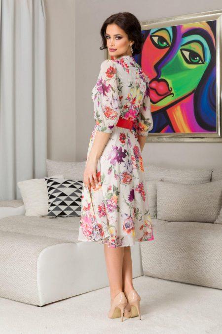 Φλοράλ Ιβουάρ Φόρεμα με Ζώνη Karina 7316