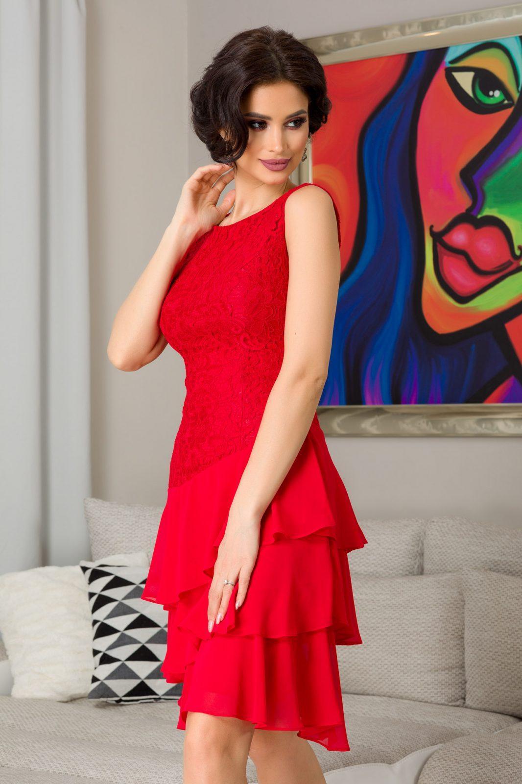 Κόκκινο Φόρεμα Με Δαντέλα Emina 7323