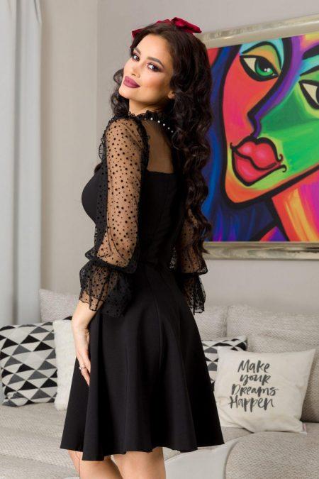 Μαύρο Φόρεμα Με Διάφανα Μανίκια Loving 7256