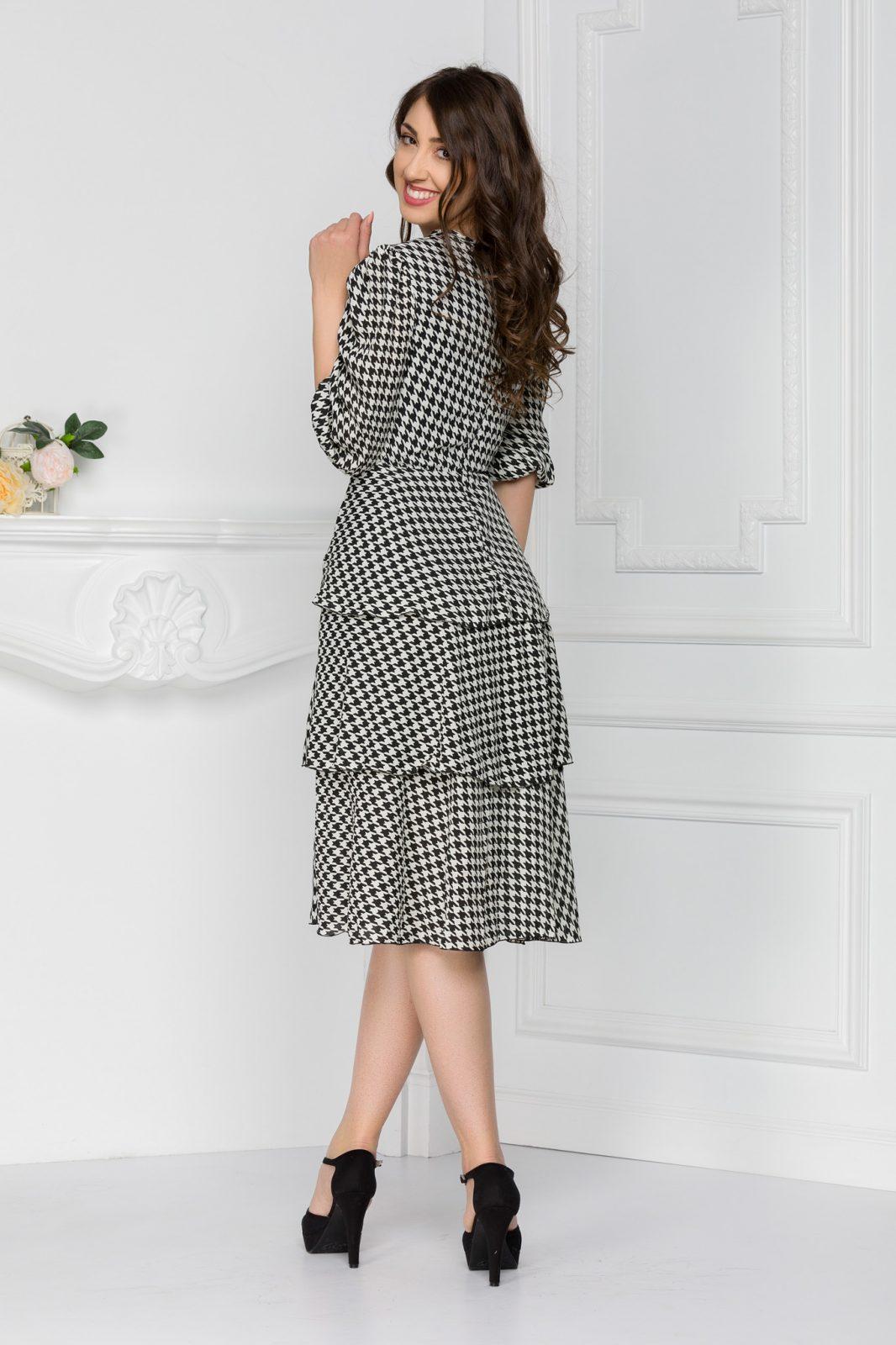 Ασπρόμαυρο Κρουαζέ Φόρεμα Gabrielle 5627