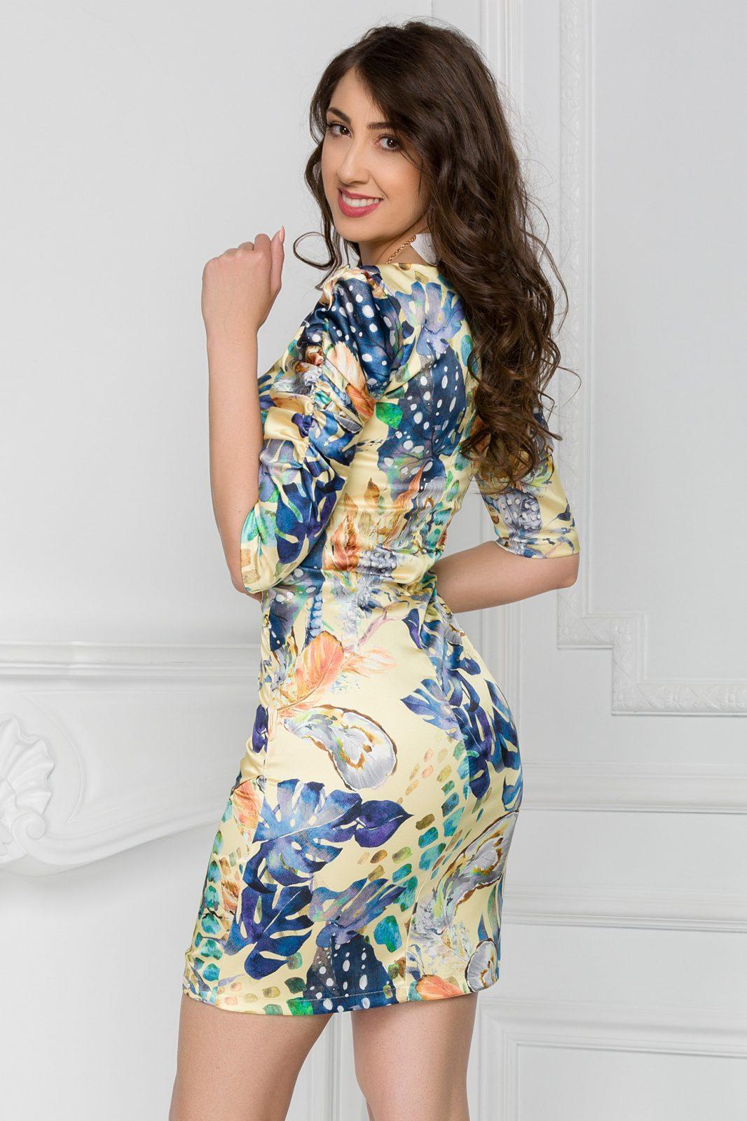 Κίτρινο Μίνι Φόρεμα Lorelay 7423