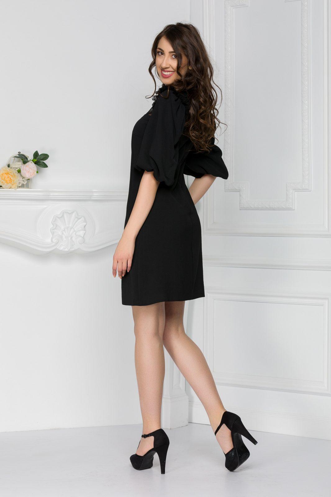 Μαύρο Φόρεμα Με Πουά Διαφάνεια Marilyn 7444