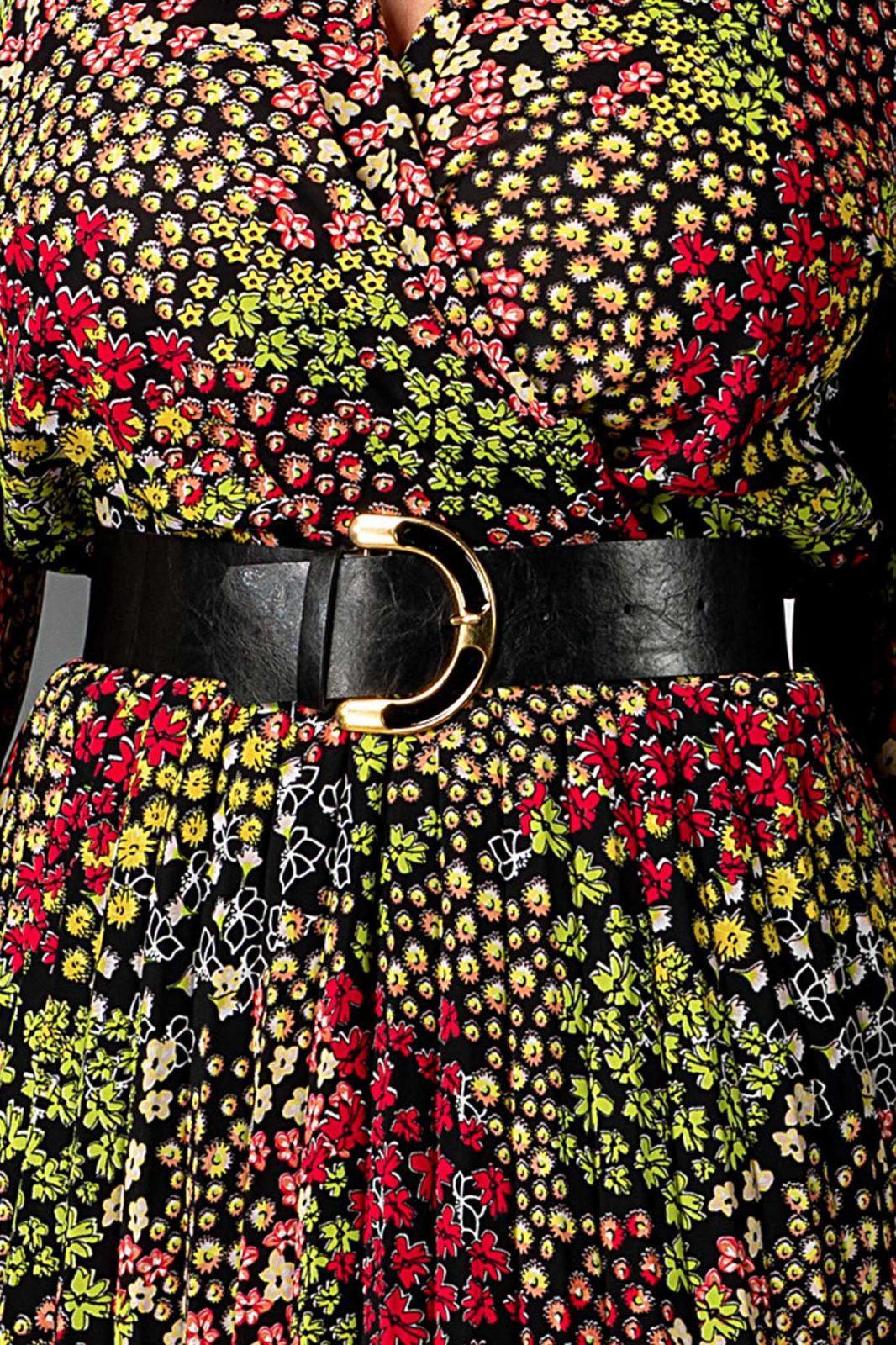 Φλοράλ Φόρεμα Με Μαύρη Ζώνη Malina 7544