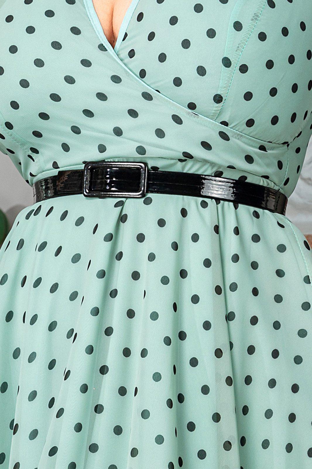 Μέντα Πουά Φόρεμα με Ζώνη Magda 7520