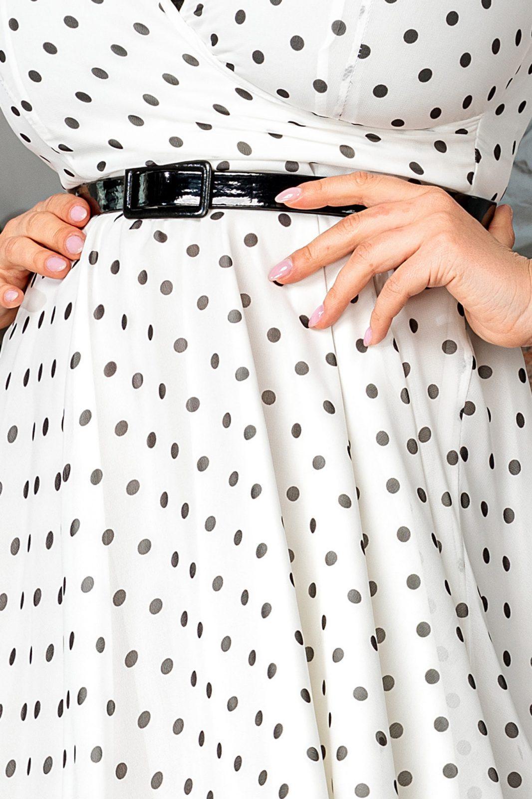 Λευκό Πουά Φόρεμα με Ζώνη Magda 7519
