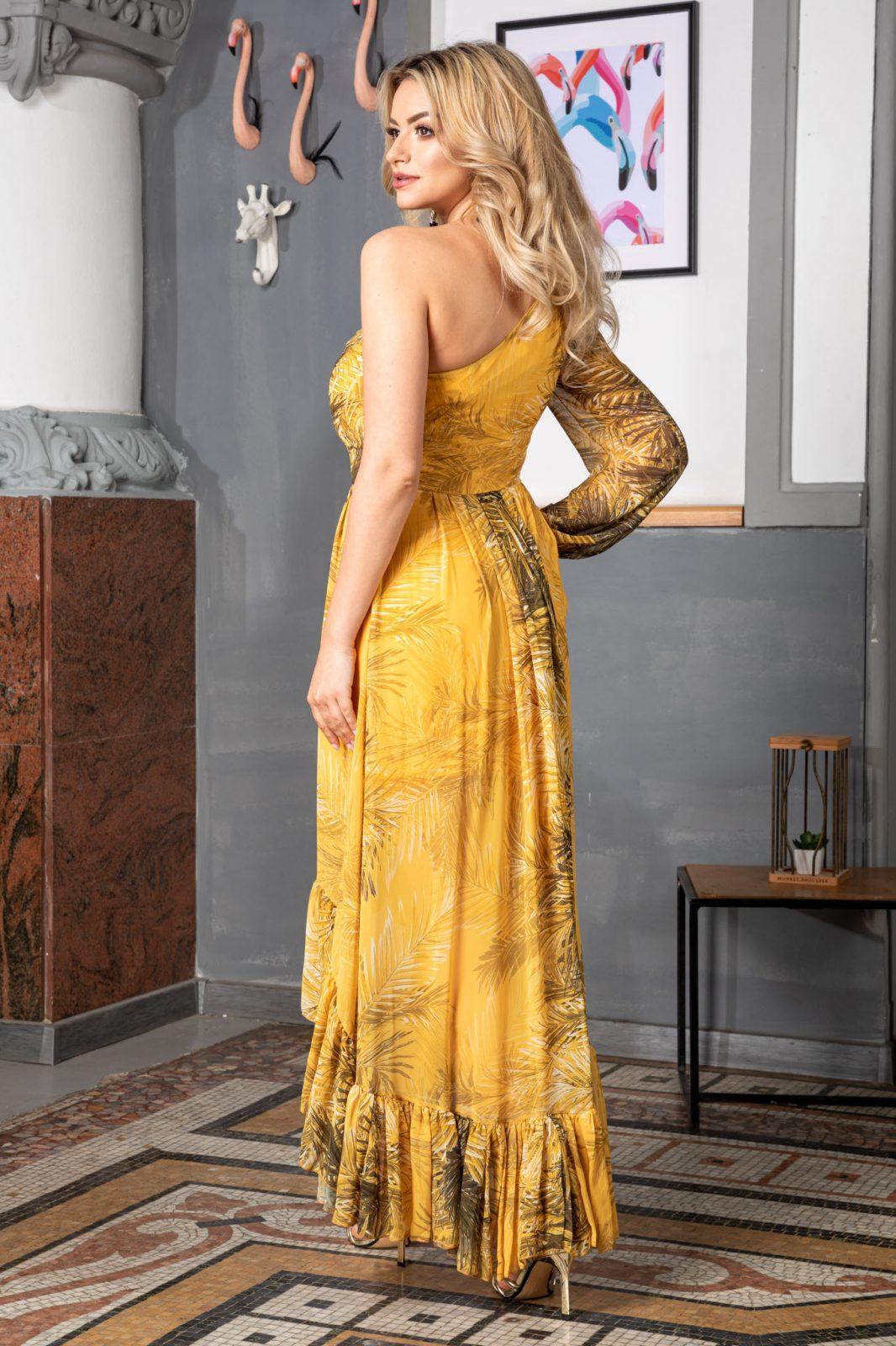 Κίτρινο Φόρεμα με Βολάν Amelya 7564