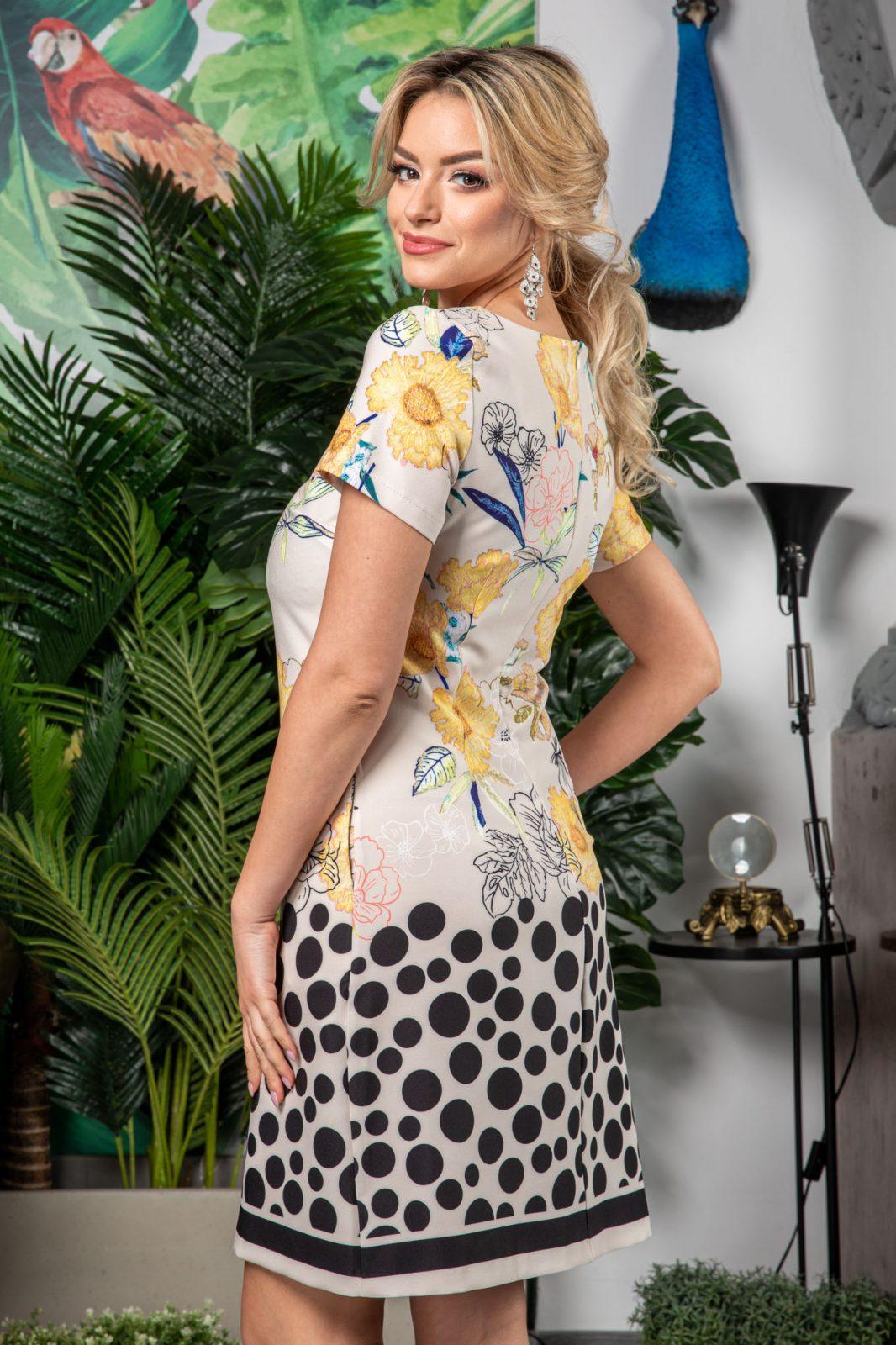 Ιβουάρ Φόρεμα με Κίτρινα Λουλούδια Zoey 7542 1