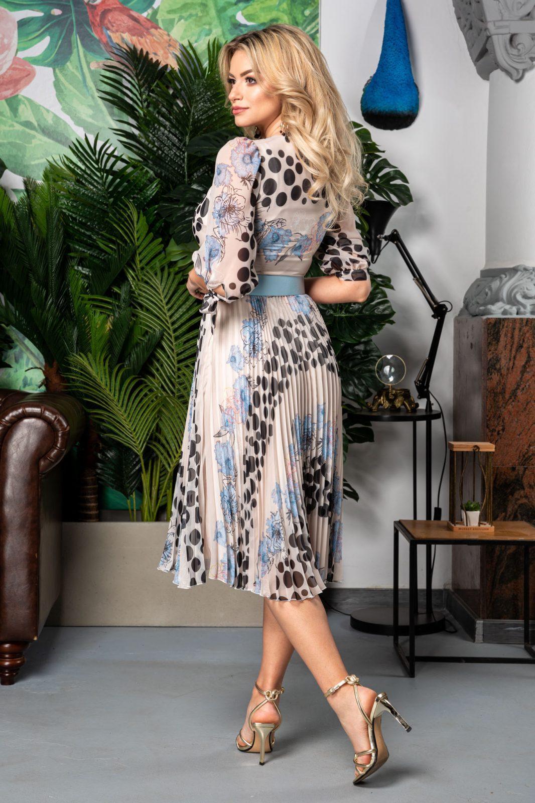 Πλισέ Φλοράλ Φόρεμα Με Γαλάζια Ζώνη Dorothy 7536