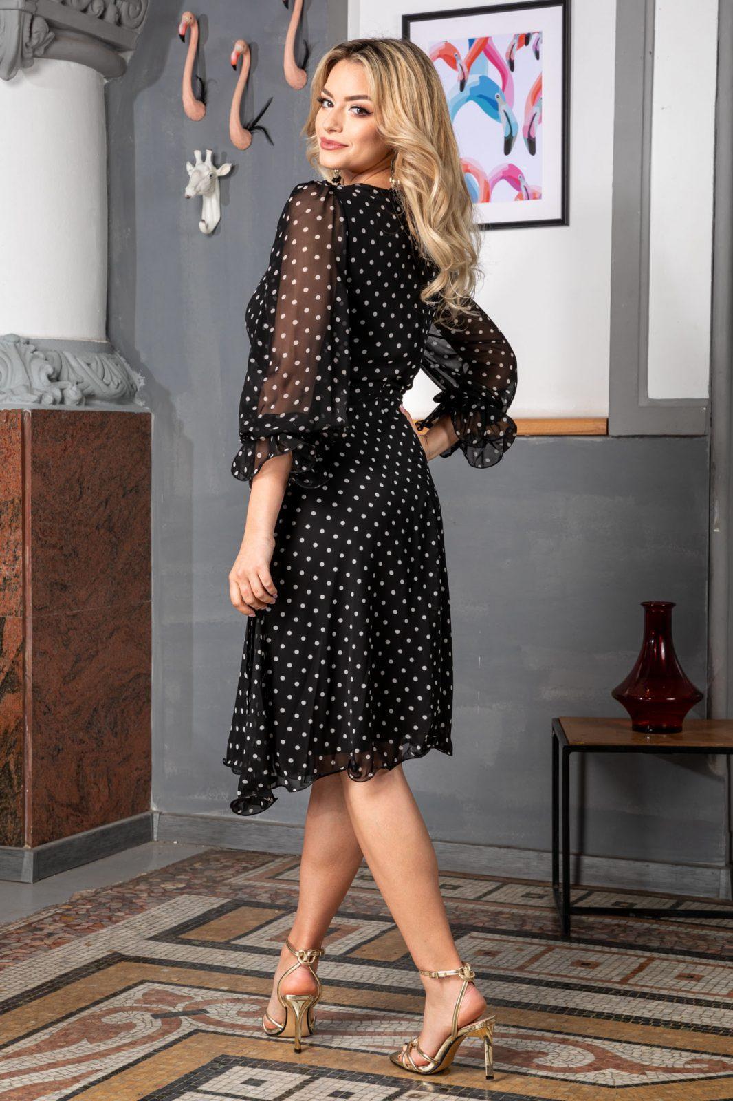 Πουά Μαύρο Φόρεμα Μίντι Simine 7514 1