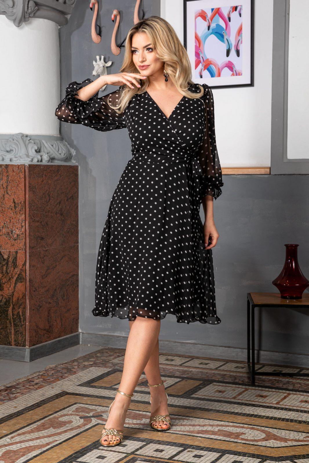 Πουά Μαύρο Φόρεμα Μίντι Simine 7514 2