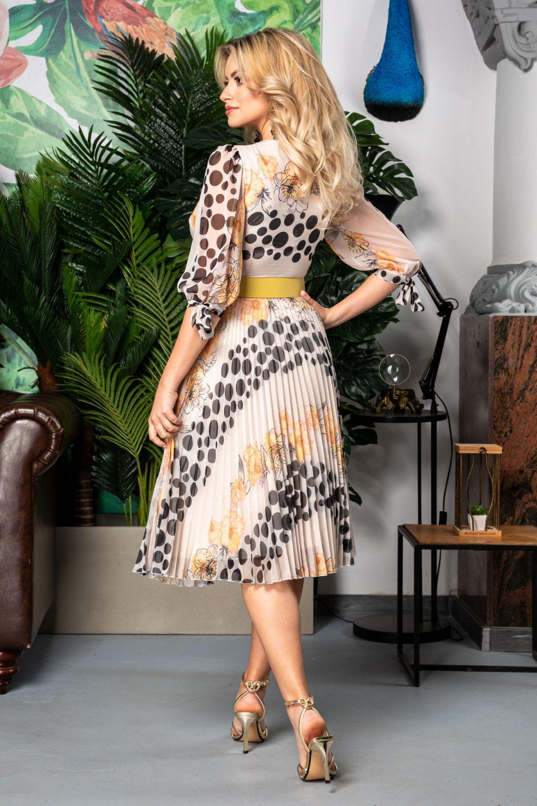 Πλισέ Φλοράλ Φόρεμα Με Κίτρινη Ζώνη Dorothy 7540