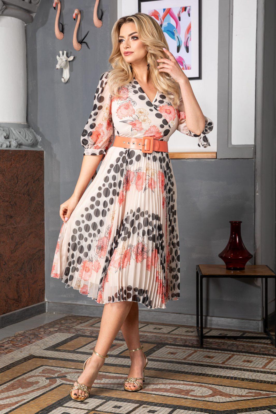 Πλισέ Φλοράλ Φόρεμα Με Κοραλί Ζώνη Dorothy 7538