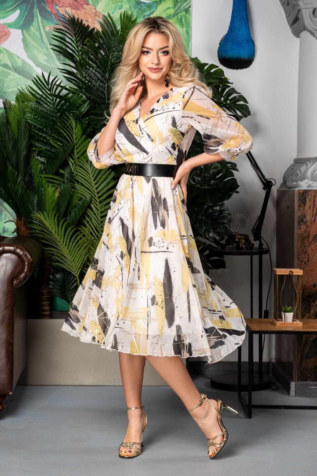 Φόρεμα λευκό από Σιφόν με Κίτρινα Σχέδια Allison 7586