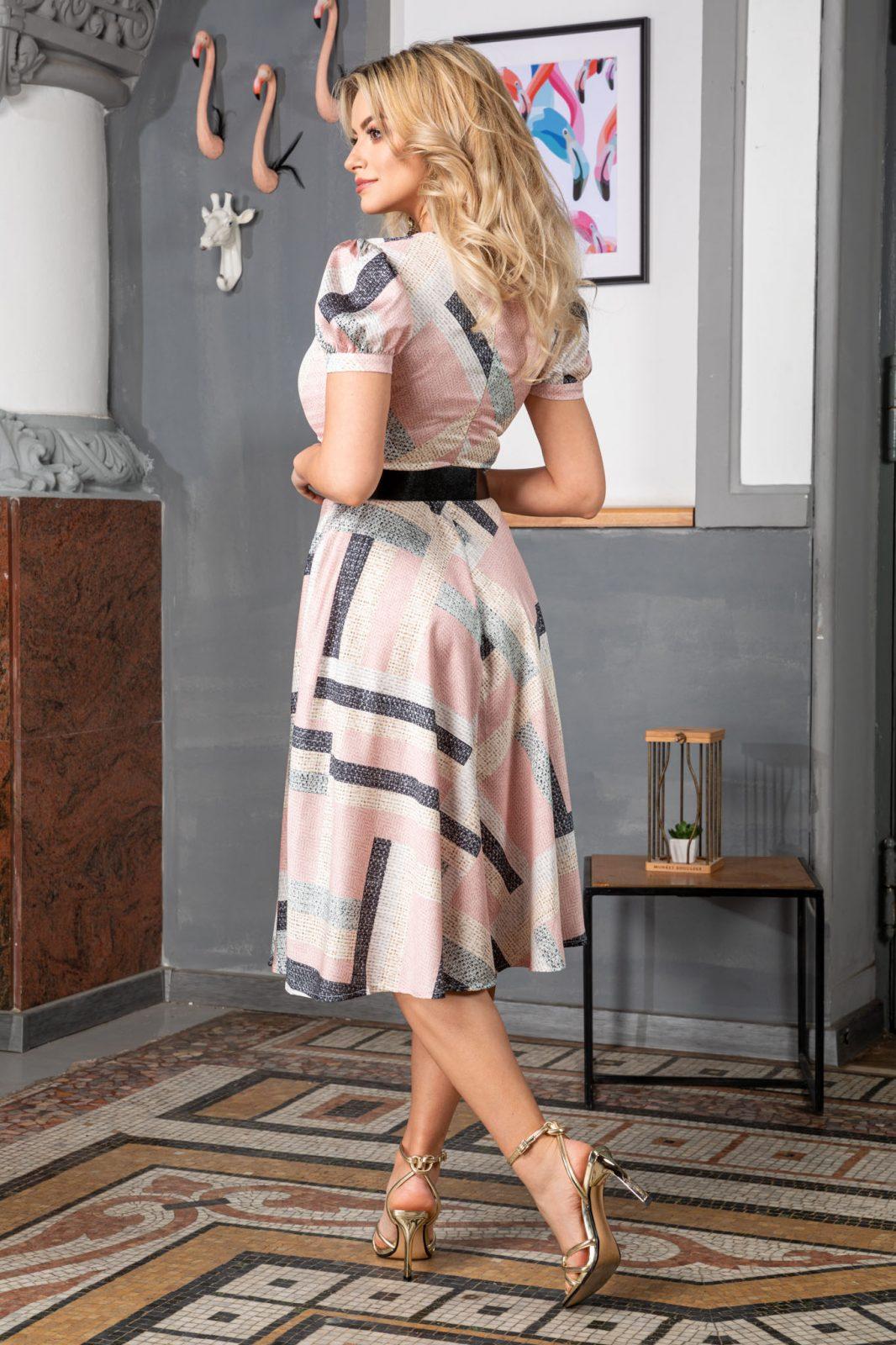 Ροζ Μίντι Σατέν Φόρεμα Floriss 7435