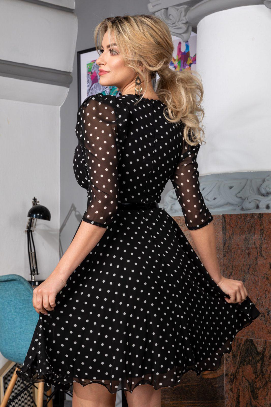Πουά Φόρεμα με Ζώνη Magda 7518