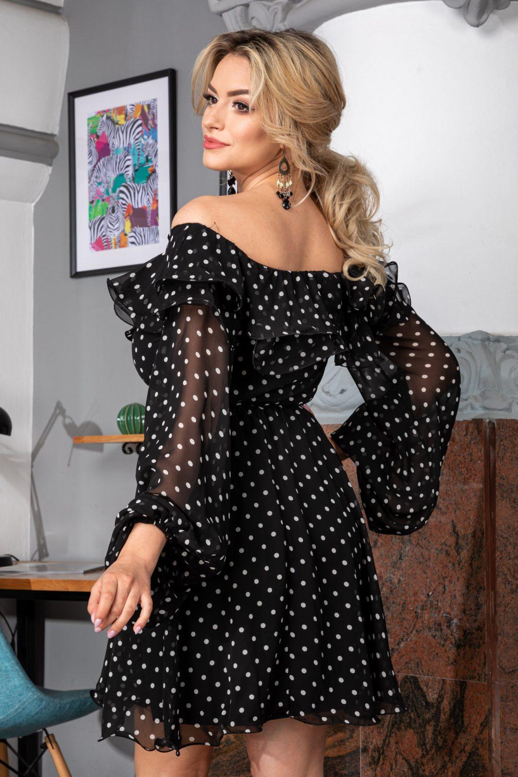 Μαύρο Πουά Φόρεμα Yrene 7550 1