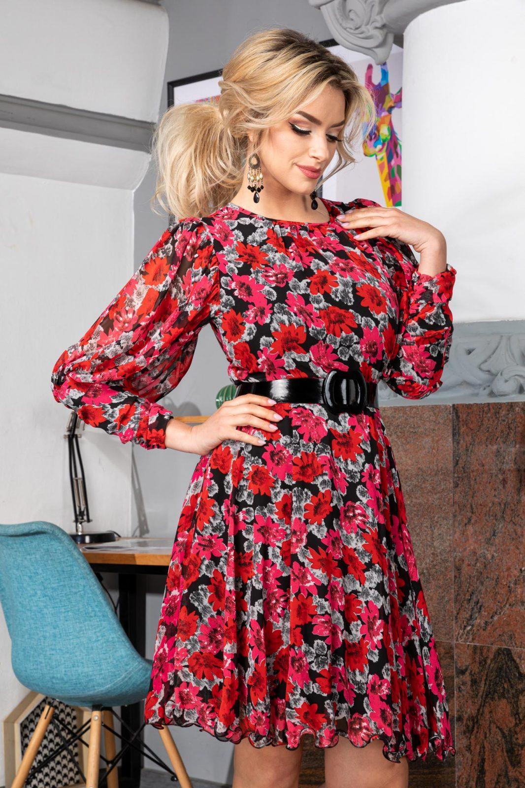 Φούξια Φόρεμα με Ζώνη Missy 7548
