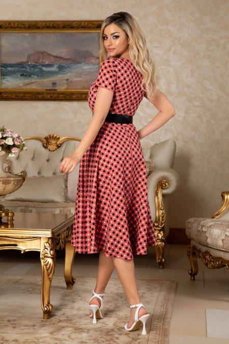 Πουά Κοραλί Φόρεμα Με Ζώνη Melissa 7631