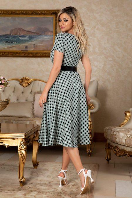 Πουά Πράσινο Φόρεμα Με Ζώνη Melissa 7630