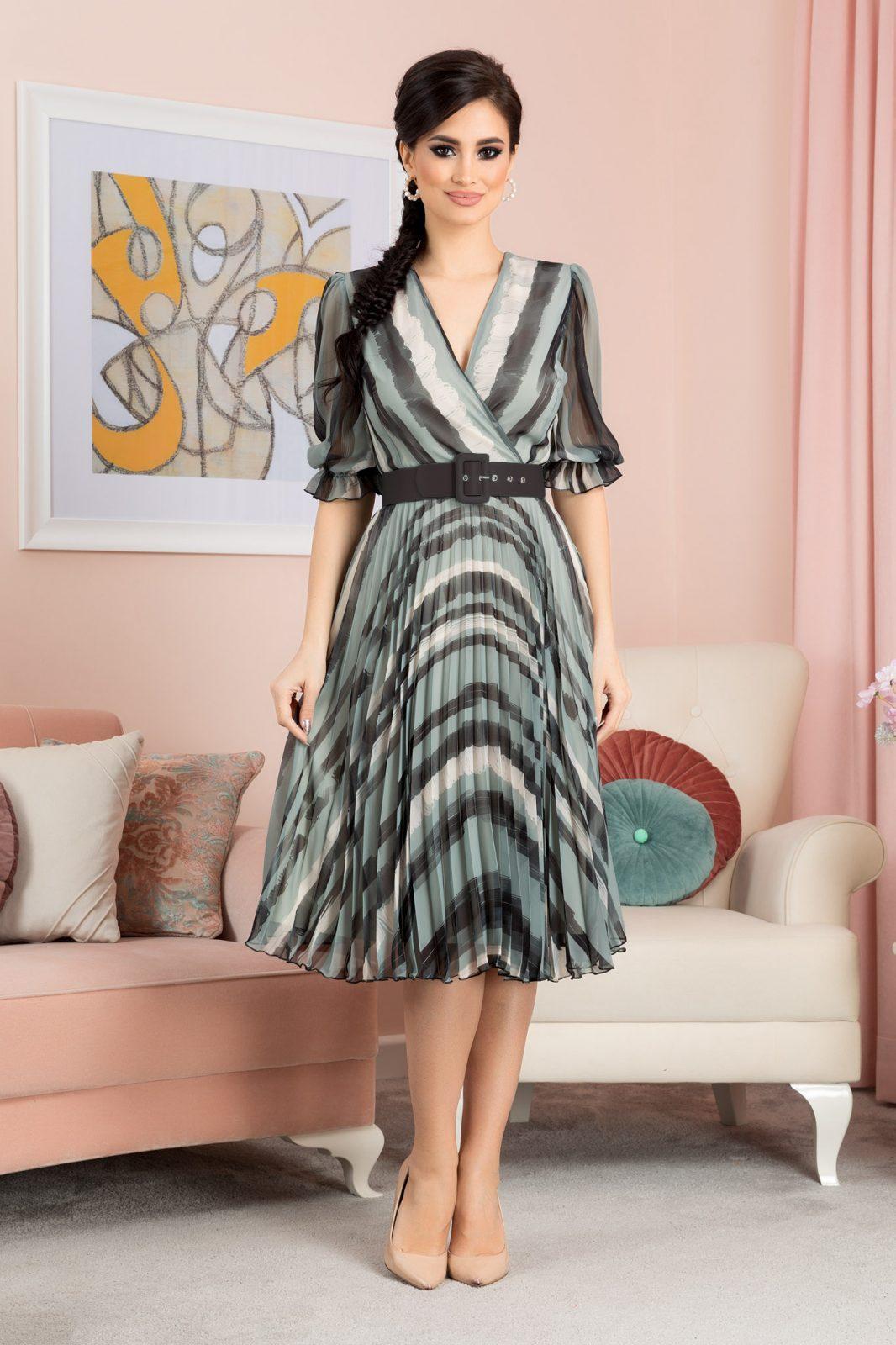 Πράσινο Πλισέ Φόρεμα Με Ζώνη Esther 7084 1