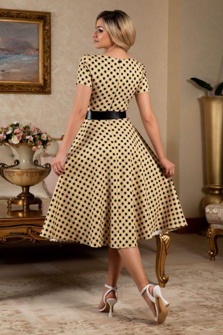 Πουά Κίτρινο Φόρεμα Με Ζώνη Melissa 7629