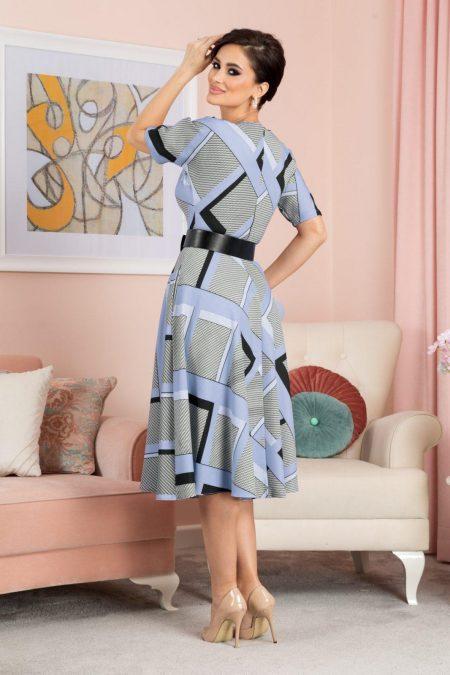 Μπλε Μίντι Καρό Φόρεμα Selya 7606