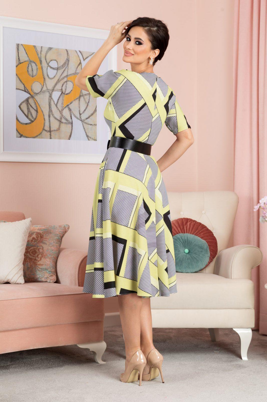 Κίτρινο Μίντι Καρό Φόρεμα Selya 7605