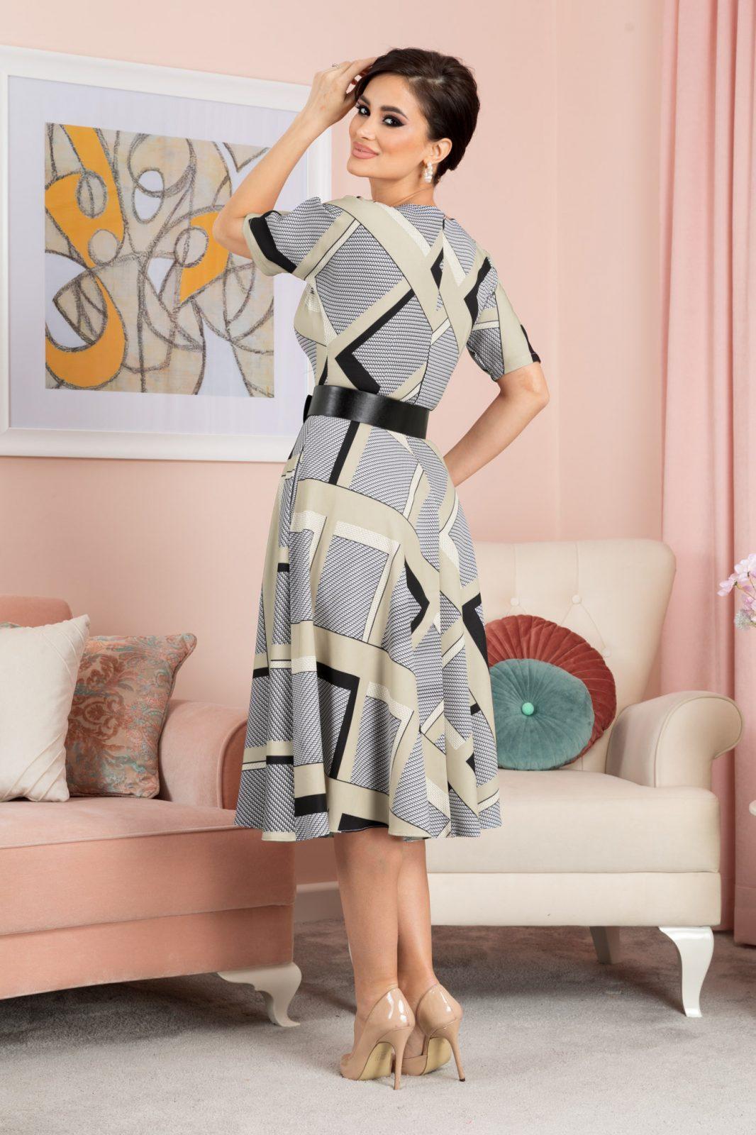 Φόρεμα Μπεζ Καρό Με Ζώνη Selya 7607