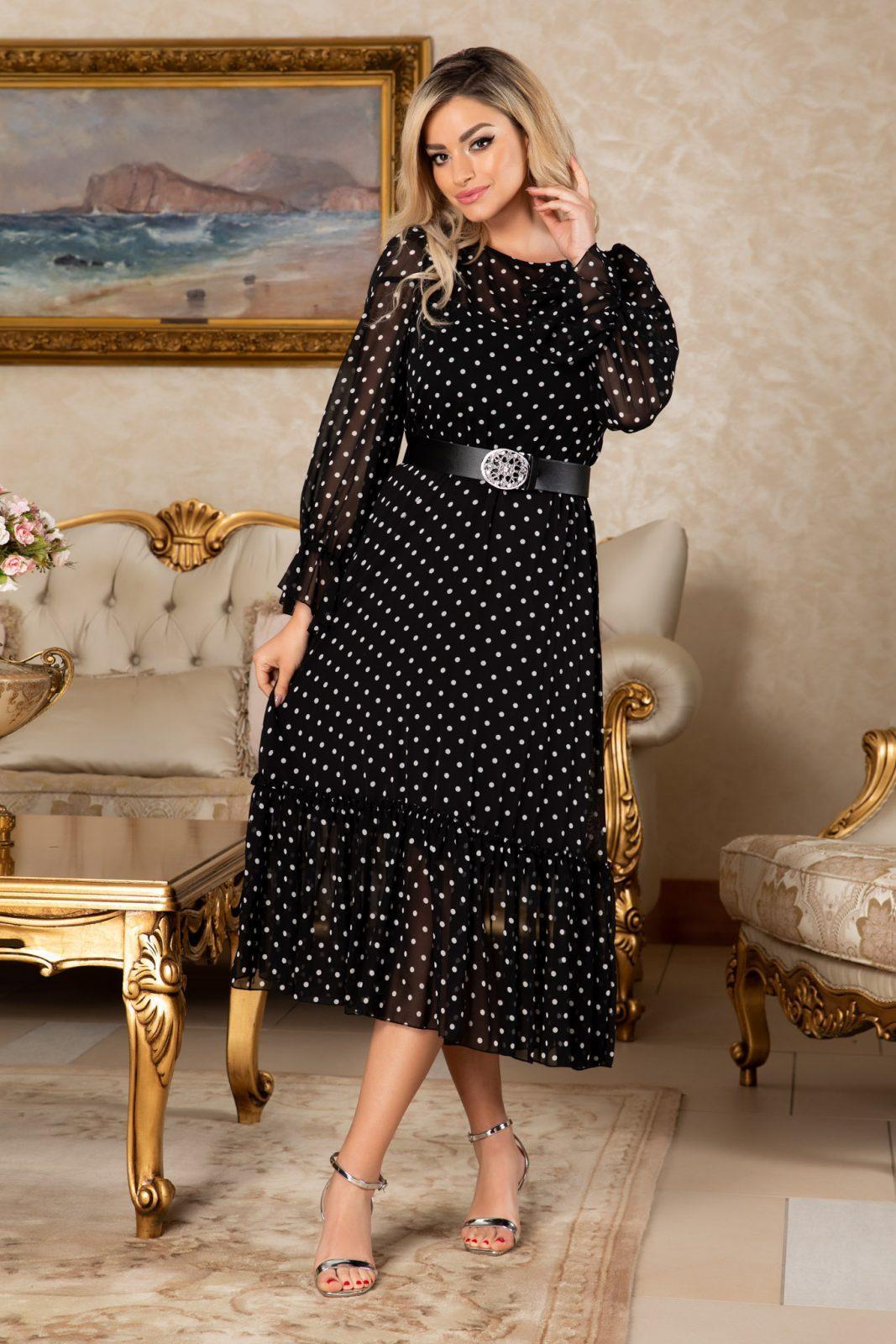 Μαύρο Πουά Φόρεμα Με Ζώνη Melanie 7691 2