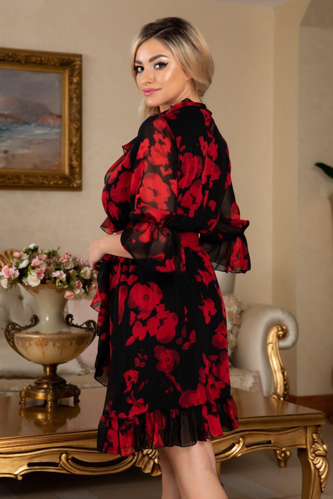 Μαύρο Φόρεμα Με Κόκκινα Λουλούδια Elda 7640