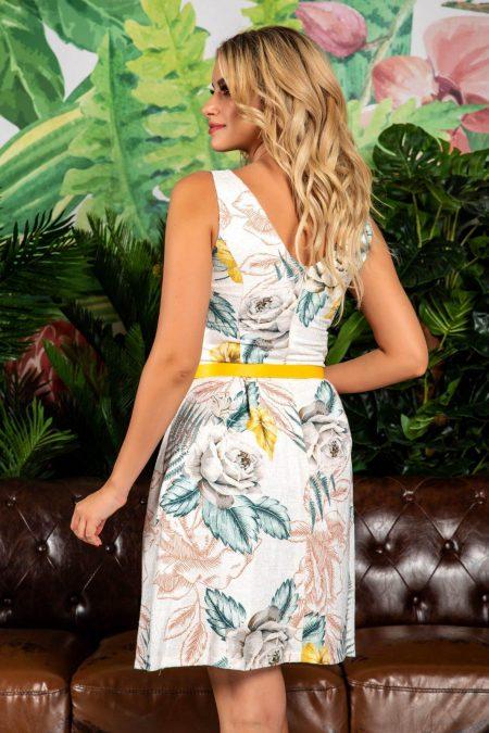 Φόρεμα Με Κίτρινη Ζώνη Milena 7793