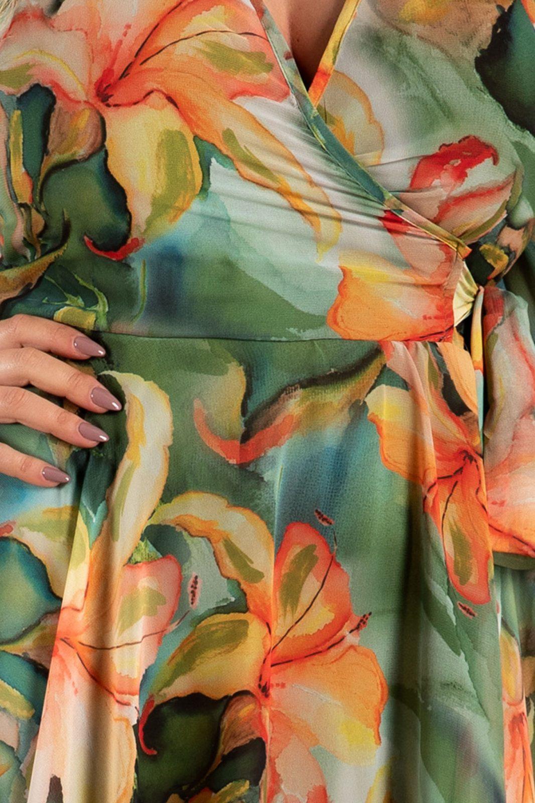 Πράσινο Φλοράλ Φόρεμα Simin 7633
